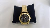 Men's Stainless Steel And Leather Geneva Watch