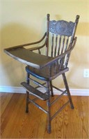 Press Back Wood High Chair