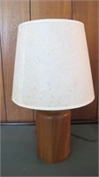 "Round Teak Table Lamp 20"" Tall With Shade"