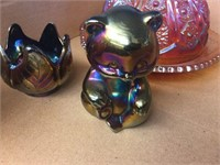 Carnival glass covered dish, Fenton cat,
