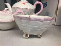 Belleek teapot, creamer & sugar