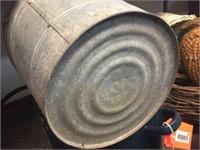 Enamel pot, galvanized pail & damaged vase