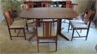Mid Century Teak Dining Table 2 Leaves 6 Chairs