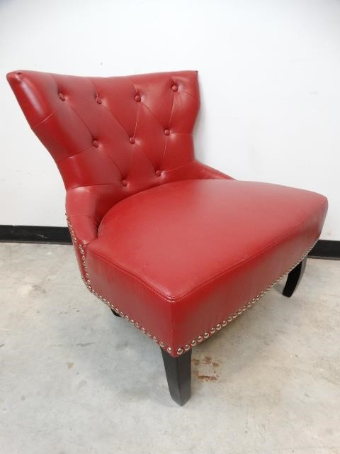 Brilliant Red Doublewide Studded Faux Leather Chair Ll Auctions Llc Gmtry Best Dining Table And Chair Ideas Images Gmtryco