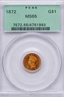 G$1 1872 PCGS MS65
