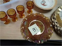 Carnival glass and amber goblets, etc.