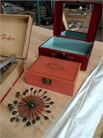 Retro record player and jewelry boxes