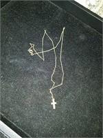 10 karat gold cross pendant and chain
