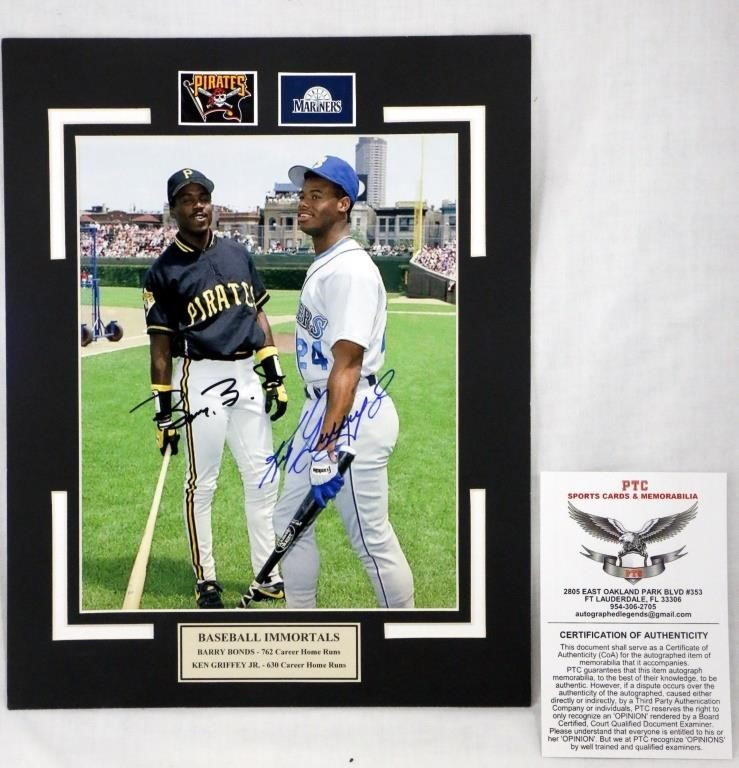 331902ea27 Barry Bonds Ken Griffey Jr Signed Matted Photo COA | Big Al's Auction