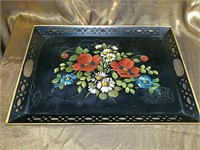 Beautiful old tole painted tray
