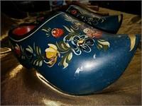 Vintage tole painted wooden shoes