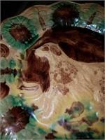 Antique yellow Ware / mocha Ware plate