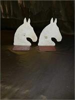 Pair antique horse head bookends