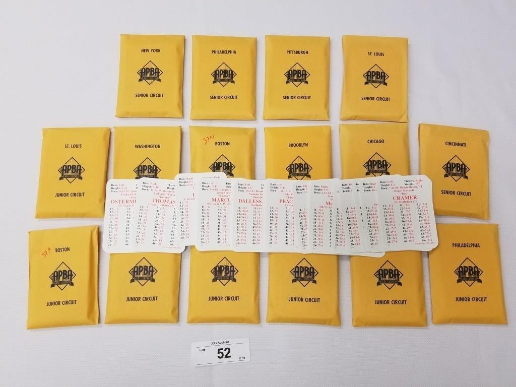 1937 Season Apba Baseball Card Set 25 Cards Per Te Tenn Auctions