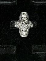 Ladies antique platinum and diamond ring