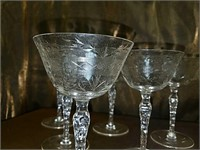 Lovely antique etched glass stemware