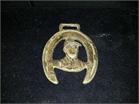 3 old brass horse medallions