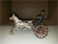 Antique cast iron horse and sulky Rider