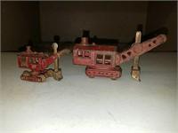 2 antique cast iron steam shovel toys