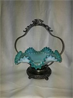 Beautiful antique glass basket w/metal stand