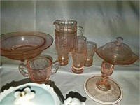 Vintage depression glass, Blue Willow Ware and