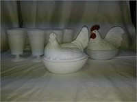 Hen on Nest milk glass collection