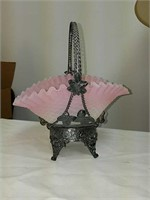 Antique pink Opalescence glass wedding basket