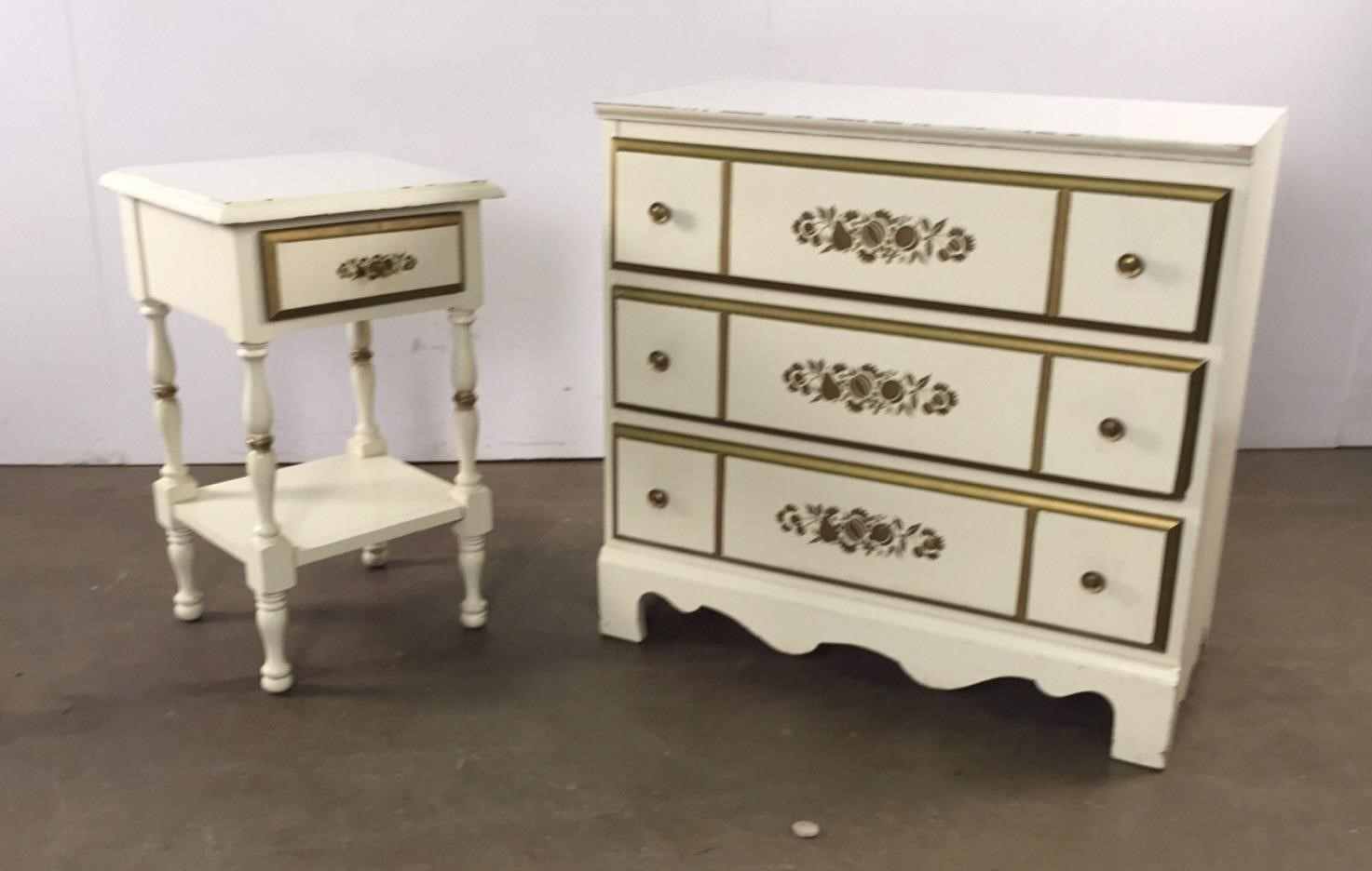 Two pieces gold stenciled bedroom furniture | Fair Auction ...
