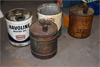 5 Gallon Havoline, Texaco Cans