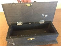 Hinged box with homemade singer sewing machine