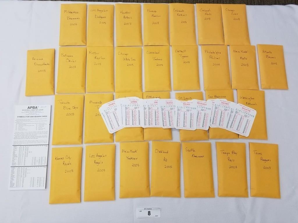 2008 Season Apba Baseball Card Set 30 Cards Per Te Jds