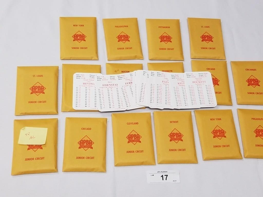 1942 Season Apba Baseball Card Set 25 Cards Per Te Tenn Auctions