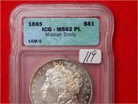 1885 Morgan Silver Dollar ICG MS62 PL