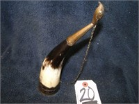 Horn with metal inlaid carving