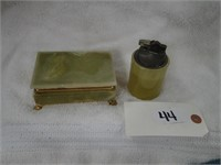 Art Deco marble green cigarette case and lighter