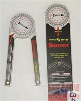 2 Starrett Pro Site Protractors.