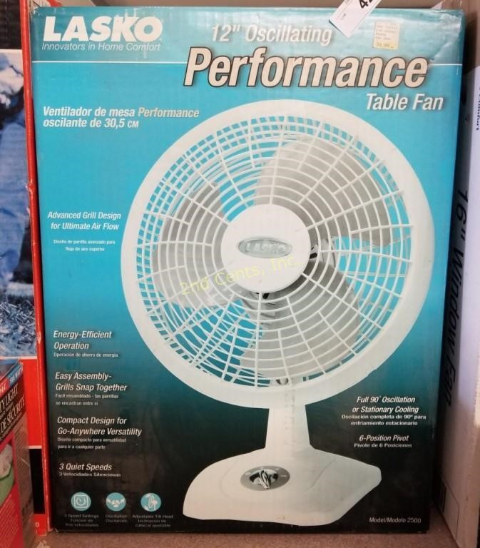"""New Lasko 12"""" Oscillating Table Fan White 