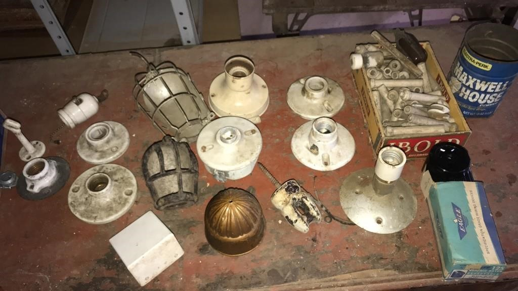 Box Full Of Vintage Lamp And Light Parts Northern Kentucky