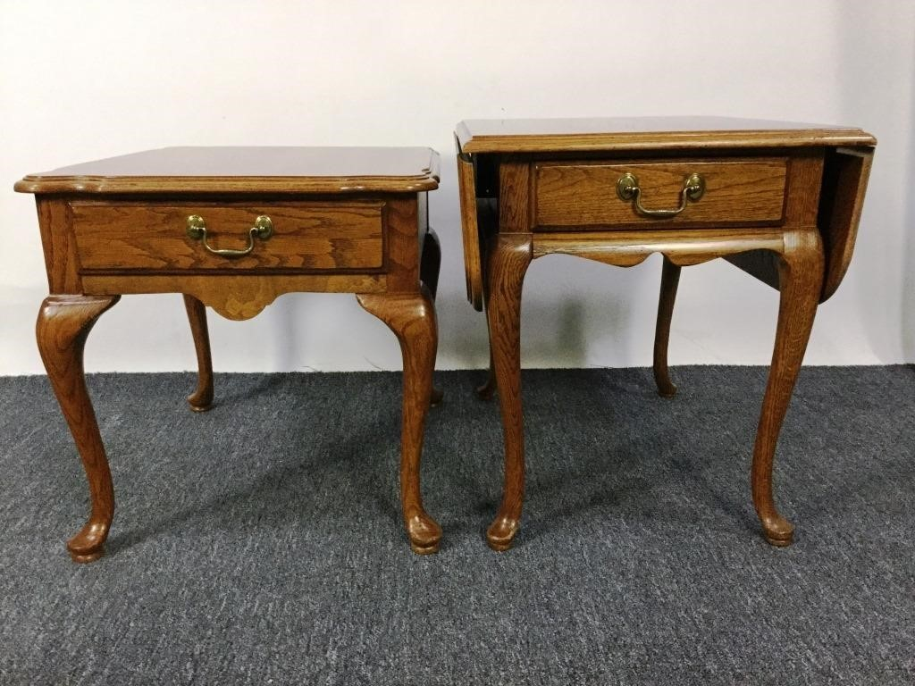 2 Medium Golden Oak Thomasville End Tables Dangerfield
