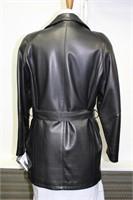 Black leather lamb skin belted coat size M