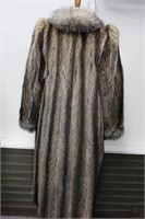 Used Raccoon fox trim coat size 8 Retail $700.00