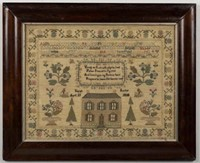 """Fine pictorial needlework sampler, silk on linen, signed """"Sarah Lusher / 1838"""", from the Hunter collection of samplers"""