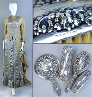 Alphonse Toutourat, 11 Rue D'Alger, Paris, France, haute couture bustle gown, about 1870, silk moiré taffeta, and original owner's sterling silver dresser set