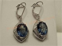Mystic Blue Violet Topaz Dangle Earrings