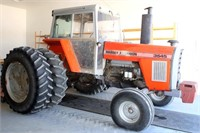 84-87 Massey Ferguson 3545, diesel, cab, 3-pt, 2-pr rem, ft wts, duals.  NOTE:  Several yrs ago, this tractor had a cab fire before Ron purchased it. Wire gauges, etc were replaced to make it in good working order.  It is not pretty, but it works/runs fine (view 1)