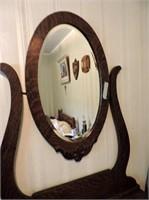 Antique Fumed Oak Dresser, Bevelled Glass Mirror