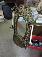 """Wall Mirror with Shelf & Candleholders, 36"""" x 25"""""""