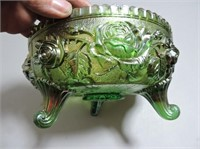 """Green Carnival Glass Footed Bowl, 7.5""""D"""