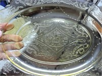 Green Depression Glass Serving Tray & Bowls