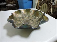 "Carnival Glass Bowl, 9"" D"